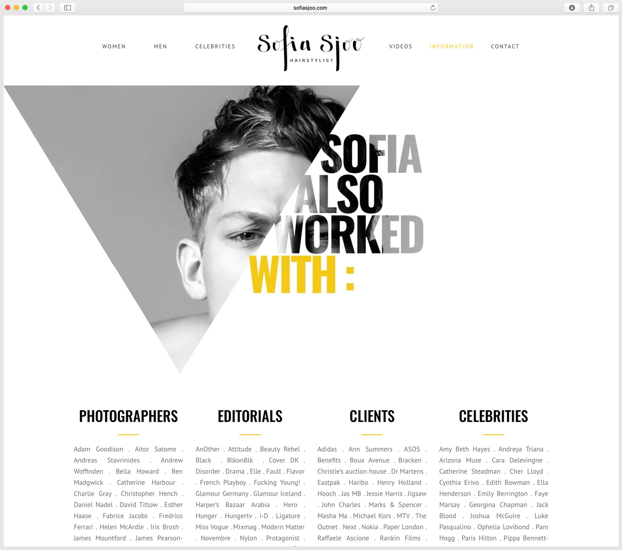 création de site web pour Hair stylist Sofia Sjoo