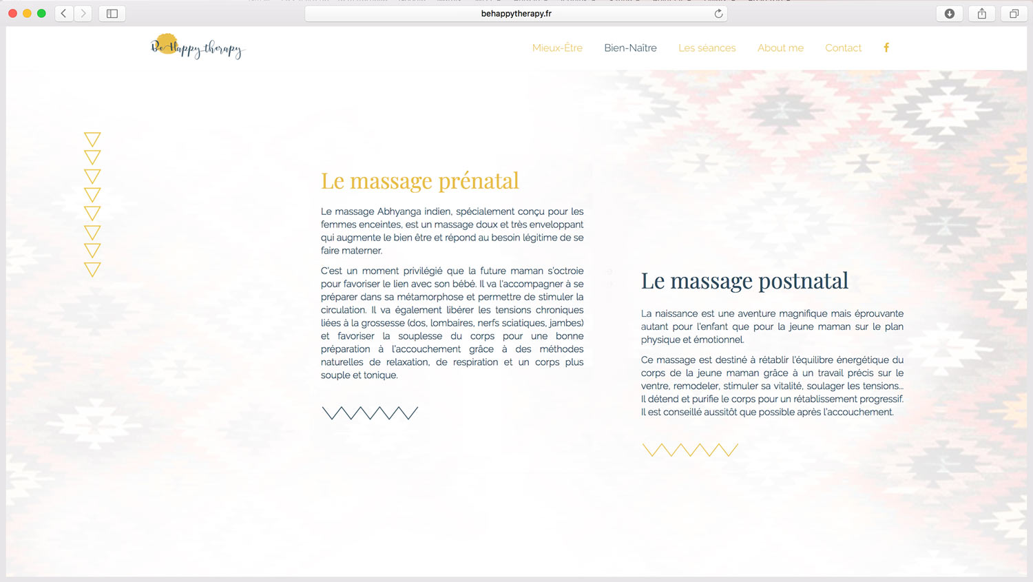 création de site web pour cabinet massage relaxation sophrologie Be Happy Therapy
