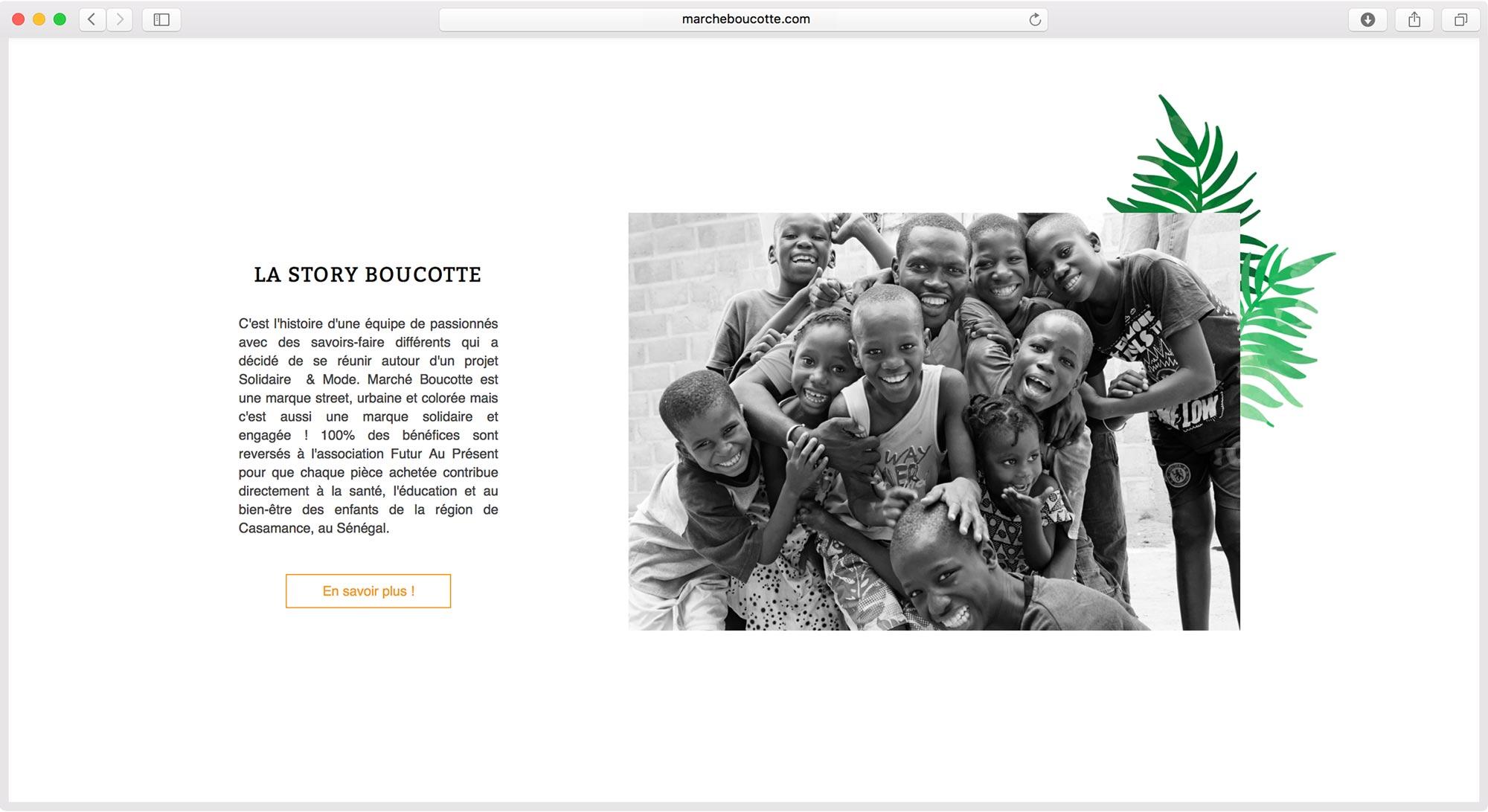 création de site web Eshop marque de vêtement Marché Boucotte