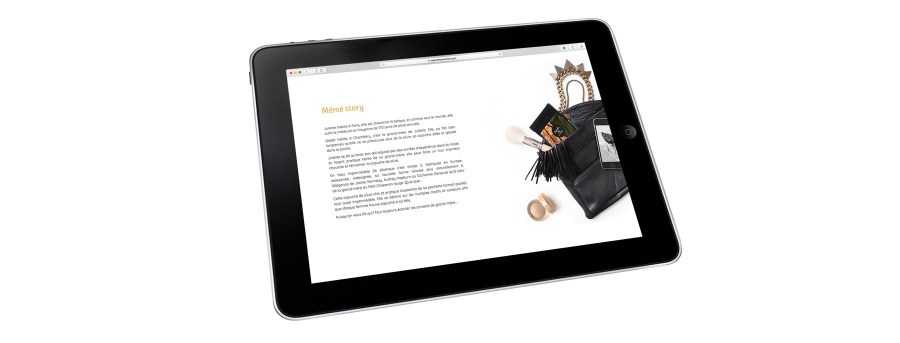 création de site web eshop pour marque d'Accessoire de Mode Capuches à Mémé